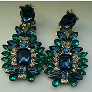 Blue and green stone earrings
